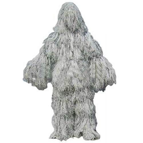 ZGYQGOO Ghillie aux Cheveux de Neige Convient à la Chasse Blanche Pure Recon de Camouflage de vêtements de Combat en Plein air