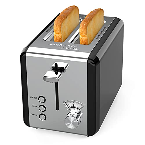 Toaster 2 Slice, whall Stainless Steel,Bagel Toaster with Extra Wide Slot,6 Bread Shade Settings,Bagel/Defrost/Cancel Function,Removable Crumb Tray,for Various Bread Types 850W /Black