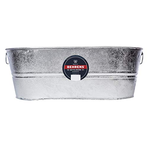 Behrens 2-OV Hot Dipped Galvanized Steel Oval PlanterTub, 10-1/2 Gallon, Silver