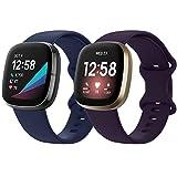 KIMILAR Correa Compatible con Fitbit Sense/Versa 3 Solamente, [2 Pack] Correa Suave de Silicona Deportiva Banda Dela Muñeca Pulseras para Versa 3 & Sense Smartwatch Mujeres Hombres