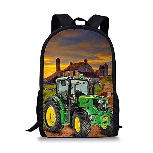 3D-Grasfeld-Holzhaus-Traktormuster Kinderrucksack,Rucksack Kinder,Schulrucksack,Kinderrucksack Jungen,kindergartenrucksack
