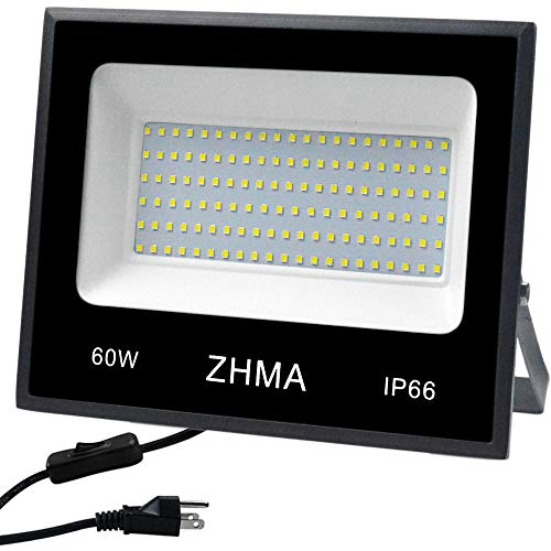 ZHMA 60W(300W Halogen Bulb Equivalent), LED Flood Light Outdoor,Super Bright Led Work Lights, Led Spotlight,Garage,Garden,Shop,Yard and Lawn Outdoor Lights,IP66 Waterproof,5400lm,6500K White Light