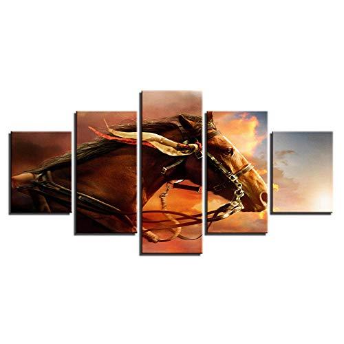 rkmaster-HD druk canvas afbeelding modulaire woonkamer decoratie lijst 5 dier oorbellen paard movie poster muurkunst