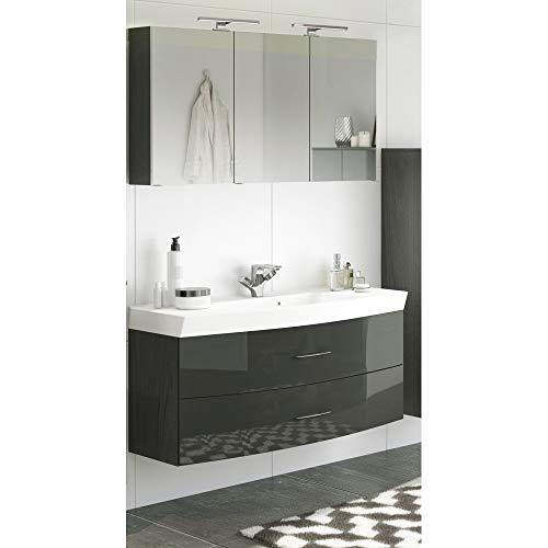 Loma Dox cuarto de baño lavabo y armario con espejo Set en brillante gris  120cm lavabo con armario Incluye  3d Espejo Armario con 2luces LED & enchufe  fabricado en Alemania.