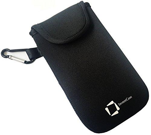 InventHülle® Neopren Tasche Beutel Hülle mit Karabiner für BlackBerry Porsche Design P'9983 - Schwarz