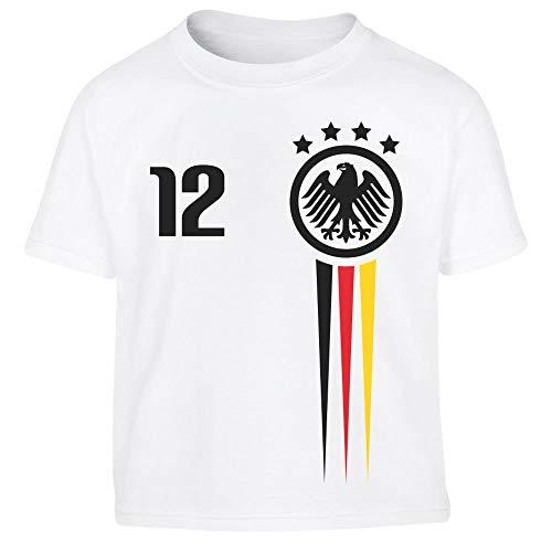 Deutsche Nationalmannschaft Fantrikot EM 2021 Kleinkind Kinder T-Shirt Junge 116/128 (5-7J) Weiß