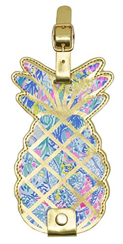 Lilly Pulitzer Women's Leatherette Pineapple Luggage Tag with Durable Strap, Mermaids Cove