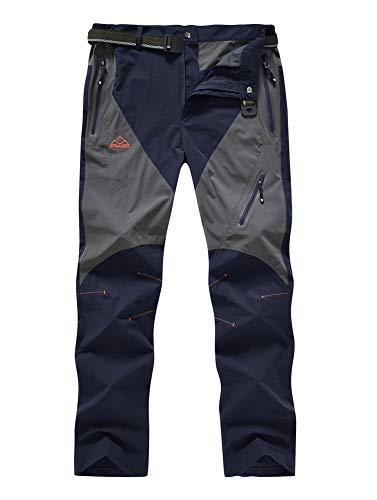 YSENTO Mens Waterproof Quick Dry Climbing Camping Pants Stretch Tactical Pants Zipper Pockets(US 36, Navy)