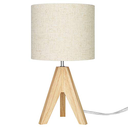 EDISHINE Wood Bedside Table Lamp,Tripod Desk Lamp with Beige Linen Lampshade,On-Off Switch,Desk Lamps for Reading,Bedroom,Living Room,Study,Office,E27 Base