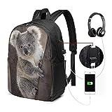 Sac à Dos Unisexe avec Port de Chargement USB Funny Koala Classic Fashion General Busin Bookbag