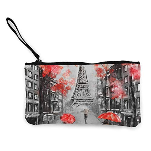Wrution Ölmalerei, Eiffelturm, Paar unter einem Regenschirm auf Straße, Leinen, Münztasche, Reißverschluss, kleine Geldbörse, weiblich, tragbar, große Kapazität, personalisiert