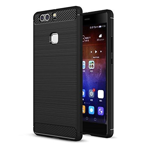 MOONCASE Huawei P9 Plus Custodia, Fibres de Carbone Rigida Flexible [Goccia Protezione] Armatura Resistente agli Urti di Protezione Case Cover per Huawei P9 Plus Nero