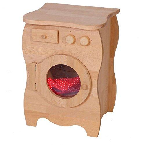 Kinder-Waschmaschine 2027G - Massiv-Holz - Waschtrommel - Waschmittelfach