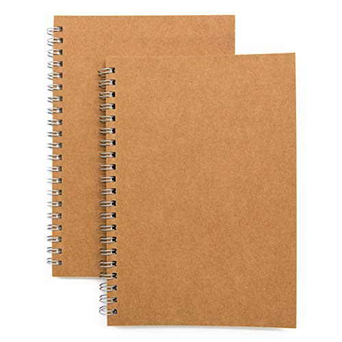 Soft Cover Spiral Notebook Journal 2-Pack, Blank Sketch Book Pad, Wirebound Memo Notepads Diary Notebook Planner with Unlined Paper, 100 Pages/ 50 Sheets, 7.5 inch x 5.1 inch (Brown) Alaska