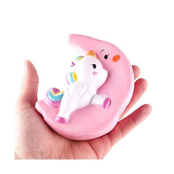 Fun Toys Squishies, Kawaii Moon Unicorn Squishy, Creamy Aroma Slow Rising Squeeze Toys for Boys and Girls Gift (Color : Yellow) 7