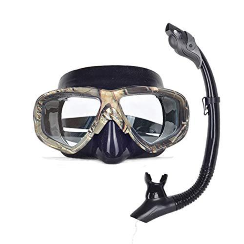 Equipo Máscara de esnórquel Gafas de Buceo Cristal Templado Ajuste Hebilla Totalmente seco Antiniebla Adultos 3 Colores MUMUJIN (Color : Camouflage)