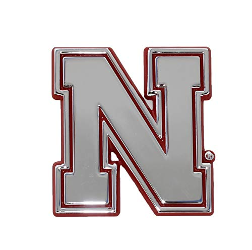 University of Nebraska METAL Auto Emblem with Red Trim (Iron N)