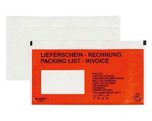 250 Stk. DOCUFIX Dokumententaschen *Lieferschein/Rechnung*, DIN Lang 240x110mm / mit Aufdruck Lieferschein/Rechnung