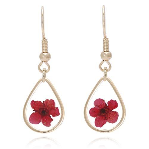 Bonaluna Women's Pressed Flower Tear Drop Earrings Red