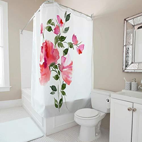 Tentenentent Cortina de ducha con diseño de flores, resistente al agua, para ducha/bañera, color blanco, 120 x 200 cm