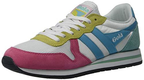 Gola Damen Daytona Sneaker, Weiß Fluro Pink Aqua Blue Sea Mist, 41 EU