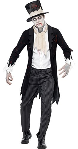 Fancy Me Herren Untoter Zombie Geist Leiche Bräutigam Halloween Kostüm Kleid Outfit - Schwarz, Large / 42