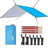 Esup 10 x 10 ft Hammock Rain Fly Lightweight Windproof Tent Tarp, 210T Ripstop Nylon Material, Camping, Hiking Essential Gear, (Sky Blue)