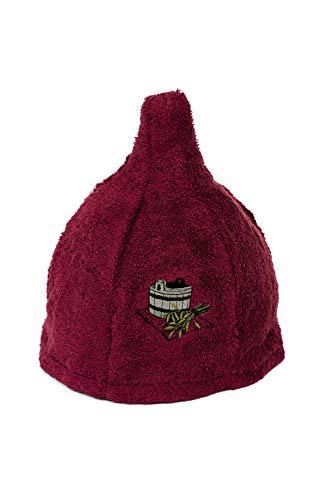 Ger3as 5 Farben Saunahut 100% Baumwolle mit Stickerei für Damen und Herren, Wellness Mütze Premium Qualität (Burgundy)