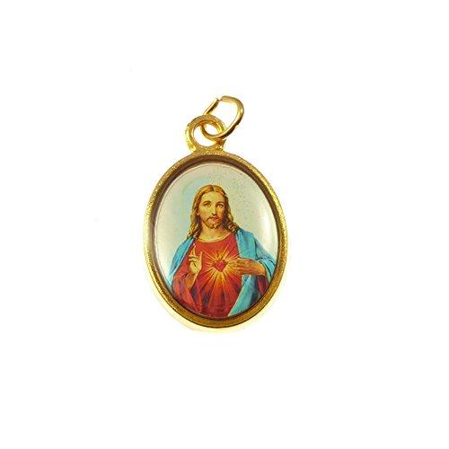 Katholische Rosenkranz Medaille Herz Jesus Bild - Goldfarben Metall 20mm