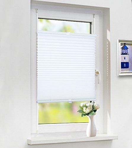Laneetal Premium Plissee Klemmfix Faltrollo ohne Bohren, Jalousie mit Spannschue Weiß 120x130cm(BXH), Easyfix und verspannt Faltrollo für Fenster und Tür, Sonnenschutz und Sichtschutz