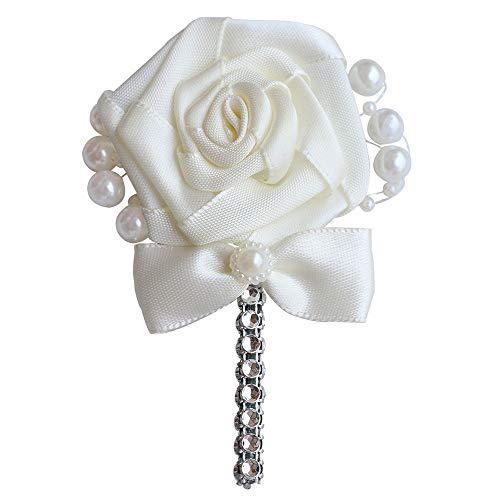 MOJUN Wedding Corsage Groom Boutonniere Cream Ribbon Rose Flower Crystal Rhinestone Pearl Beaded Brooch with Bowknot Cream, Pack of 1