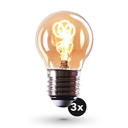 CROWN LED 3 x Edison Glühbirne E27 Fassung, Dimmbar, 2W, 2200K, Warmweiß, 230V, EL28, Antike Filament Beleuchtung im Retro Vintage Look