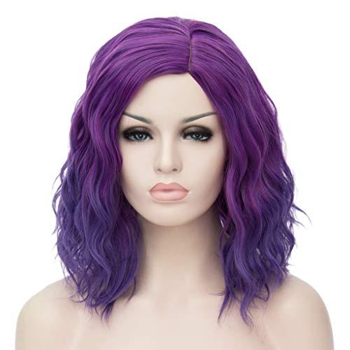 ATAYOU® Kurze Lockige Ombre Synthetische Cosplay Bob Perücken Für Frauen Kostüm Mit 1 Frei Wig Cap (Lila bis Blau Ombre)
