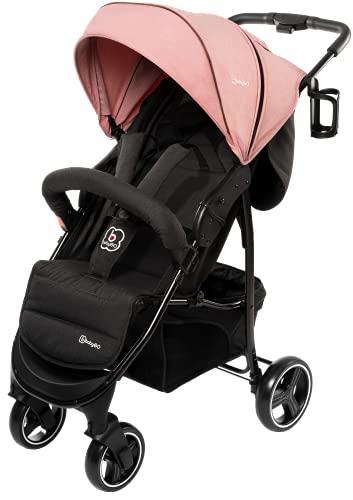 babyGO Basket Kinderwagen - Buggy - Kombikinderwagen - Einfaches zusammenklappen - mit Praktischer Tasche und Flaschenhalter (Pink Melange-ohne Babyschale)