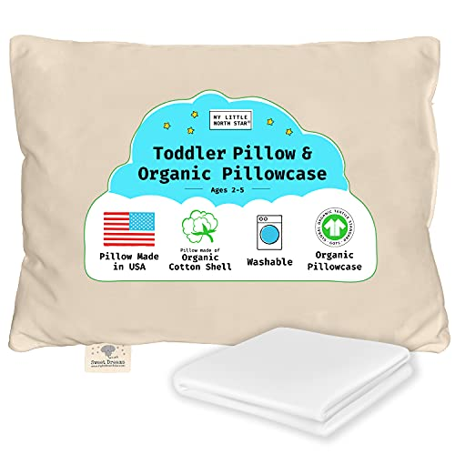 Toddler Pillow, Organic Cotton Shell Made in USA &...