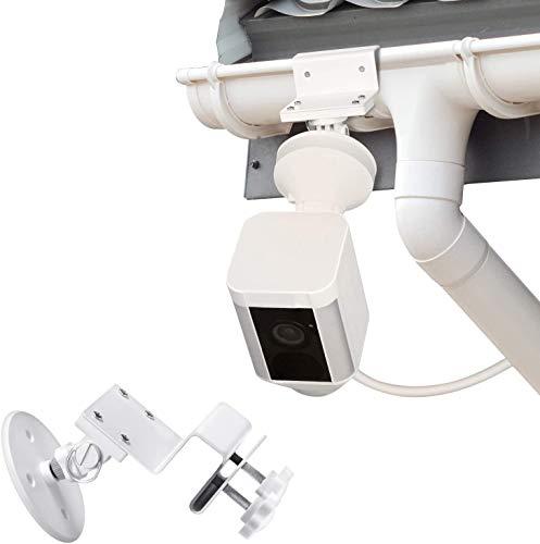 Wetterfeste Regenrinnenhalterung kompatibel mit Ring Spotlight Cam Wired und Ring Spotlight Cam Battery - größere Höhe für Ihre Ringkamera (weiß)
