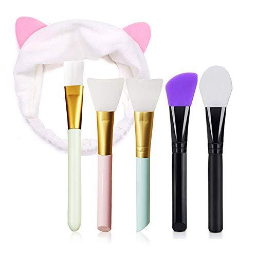 Ealicere 5 Maskenpinsel mit 1 Haarbänd, Pinsel Silikon Set, Gesichtsmask Pinsel Gesicht Set, Make-up Gesicht Bürste für Gesichtsmasken