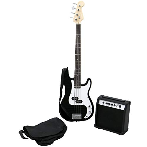 Oypla PB Precision Style Black 4 String Electric Bass Guitar & 15W Amp