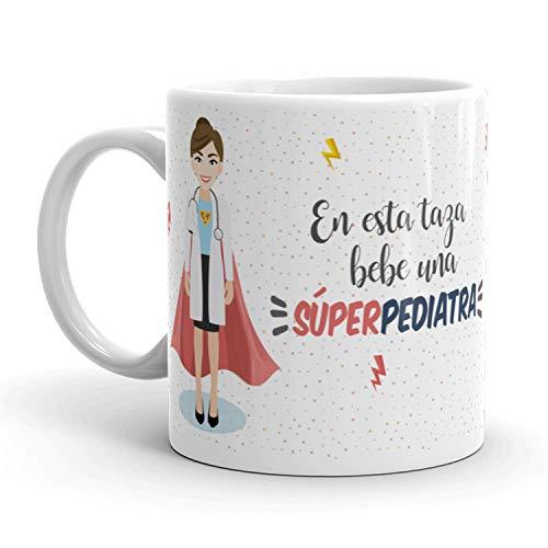 Kembilove Taza de Café de Pediatra – En Esta Taza Bebe una Súper Pediatra – Taza de Desayuno para la Oficina – Taza de Café y Té para Profesionales – Tazas para Pediatras de Superhéroes