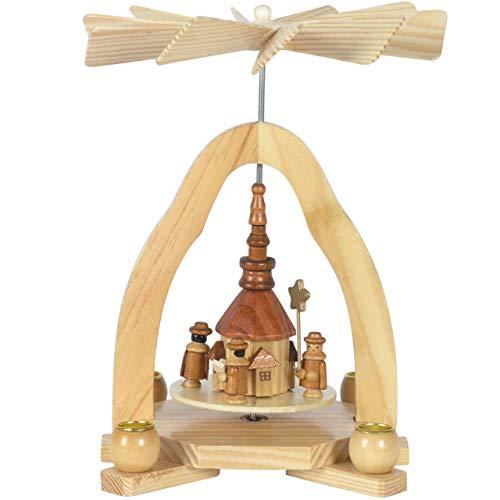 OBC Weihnachtspyramide/Chorsänger mit Kirche Natur/Pyramide Weihnachten/im Erzgebirge Stil, handgefertigt/Deko zu Weihnachten