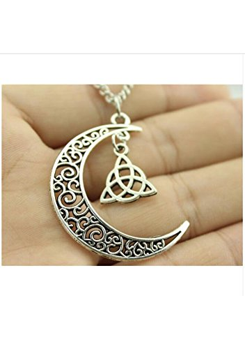 Women Fashion Necklace, Crescent Moon Necklace With Triquetra Symbol Charms,Celtic Jewelry