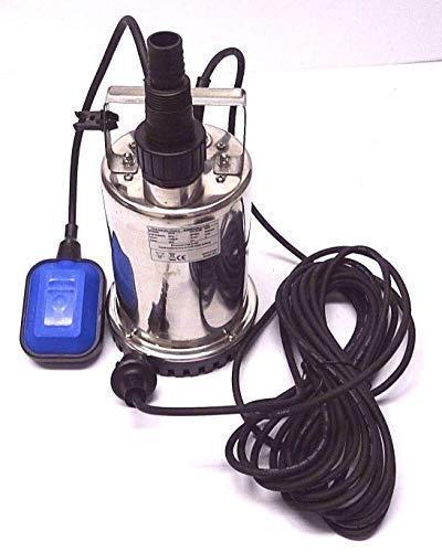 Flachsaugende Tauchpumpe Leistung 750 Watt aus hochwertigen Edelstahl INOX Abschalthöhe 5mm inkl. Schwimmerschalter, Fördermenge: 11000l/h, Spannung: 230V / 50Hz,