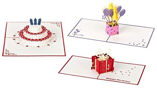 3D Geburtstagskarten - Set mit 3 Stück Pop up Karten im günstigen Vorteilspack inclusive Umschlag und Schutzhülle - Pop-Up-Karten - handgefertigt - Motive: Torte & Geschenk & Luftballons