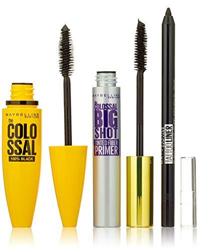 Maybelline New York The Colossal Set: Colossal 100% Black Mascara, Big Shot Primer, Tattoo Liner Gel Pencil schwarz Kajal, 75 g