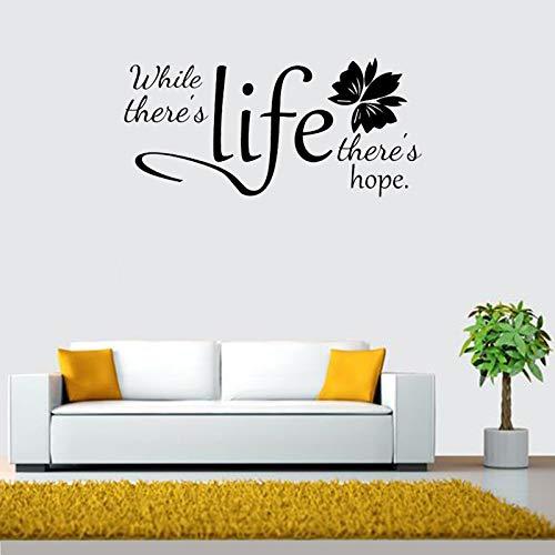jiuyaomai Inspirierende Wandtattoo Während es Leben gibt, gibt es Hoffnung Zitat Wandaufkleber Wohnzimmer Büro Tapete Vinyl Dekor Wandbild 42x90cm