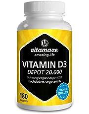 Vitamine D Depot 20000 IU Sterke Dosis (20 dagen dosering), 180 Vegetarische Tabletten, Vitamine D3 Supplementen zonder Onnodige Toevoegingen, Made in Germany