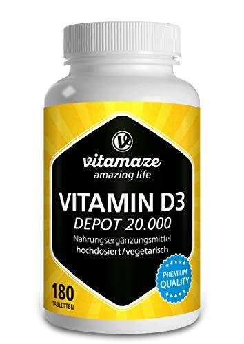Vitamin D3 hochdosiert 20000 IE pro Tablette (20-Tage Dosis), 180 vegetarische Tabletten (teilbar), Natürliche Nahrungsergänzung ohne Zusatzstoffe, Made in Germany