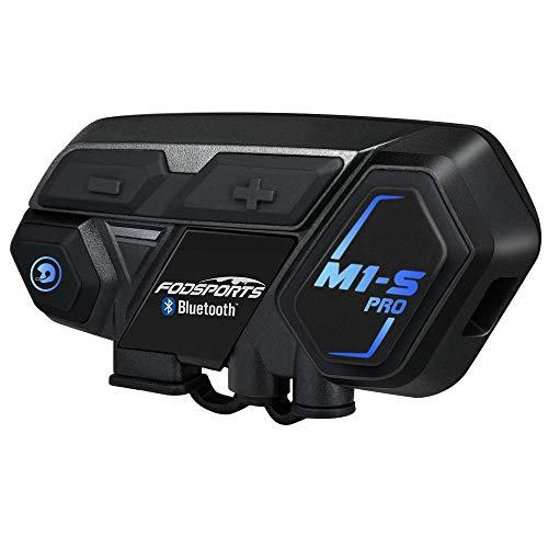 Intercom Moto Casco Bluetooth, Fodsports M1S Pro 2000M 8 Riders Group Moto Casco Sistema de comunicación inalámbrico Auriculares Interphone (impermeable/manos libres/música estéreo/GPS / 2 mic)