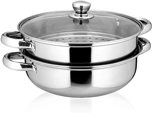 XIN Cocina Olla Vapor Vaporera Nivel 2 Vapor Conjunto de la Cacerola con Tapa de Vidrio for cocinar Vapor del Acero Inoxidable Olla inducción Cocina de Gas Universal Stock Pot 28cm