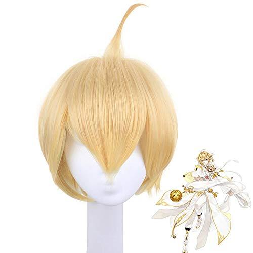 Cosplay Anime Gold Short Wig 11.81in, Jinlingsuo Dress Up Pelo Sintético Fancy Game Masquerade Crazy Party Pelucas con Gorra De Red De Peluca Gratis